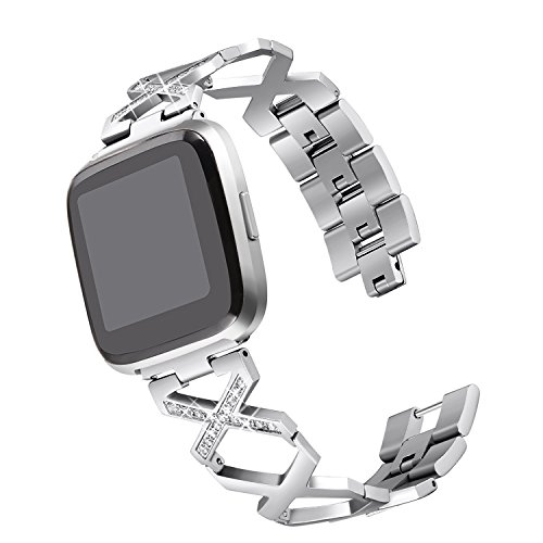 bayite Stainless Steel Bands Compatible with Fitbit Versa Watch, Special Link Design with Bling, Silver 5.5