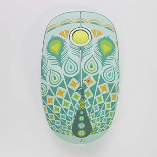 Ergonomic Wireless Mouse Peacock Pattern USB Plug-Piece Portable Great Cursor Speed Precision Long Battery for Laptop,PC,Computer,Chromebook,MacBook,Notebook