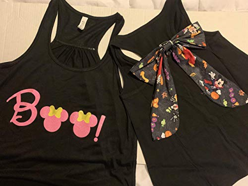 Handmade Disney Halloween Shirt with Bow on Back Minnie Boo with Mickey Detachable Bow]()
