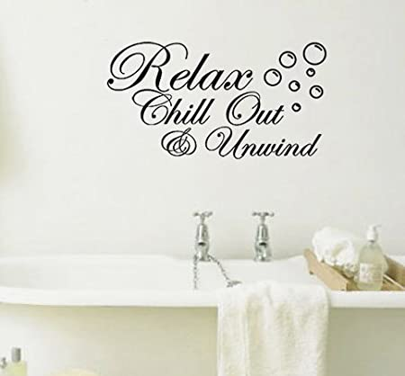 Relax Chill Out And Unwind With Bubbles Bathroom Wall Art Sticker Picture  Motto (Black.