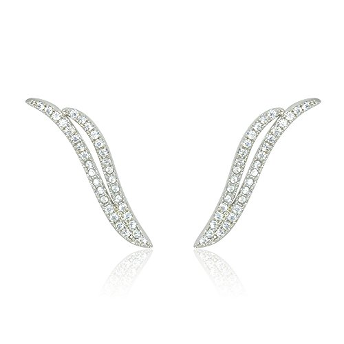 Espere Cutout Angle Wing Phoenix Diamond Ear Crawlers Climbers Cuff (Cuff White Gold Earrings)