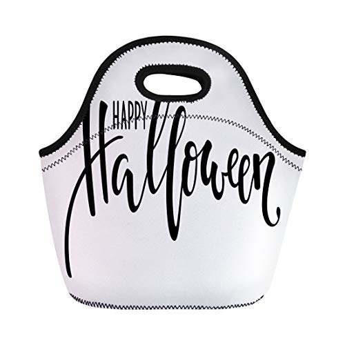 Semtomn Lunch Tote Bag Happy Halloween Creative and Brush Pen Lettering for Holiday Reusable Neoprene Insulated Thermal Outdoor Picnic Lunchbox for Men -