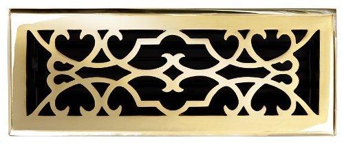 Brass Elegans 120E PLB Solid Cast Brass Victorian Floor Register, Polished Brass Finish Model. by Brass Elegans