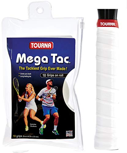 Tourna Mega Tac Extra Tacky Overgrip, White, 10-Pack