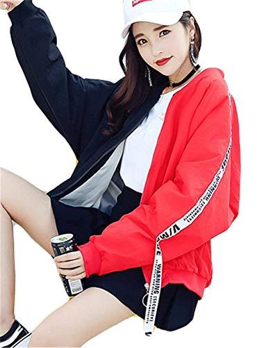 Stampato B Bomber Outwear Casual Giacca Sciolto Cucitura Donna Con Lunga Autunno Pattern Moda Cerniera Giubotto Eleganti Cute Giubbino Chic Primaverile Manica XXqRpFBw