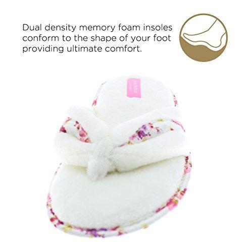 Isaac Mizrahi Womens Chasity Bloemen Flip Flop String Memory Foam Pluche Slip Op Slipper Crème