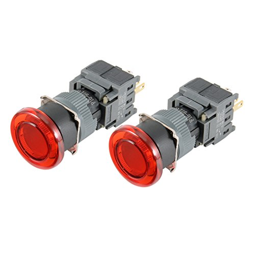 Mm Led 16 24v (uxcell 2pcs Momentary Push Button Switch 250V Mushroom Head 16mm Mounting Dia SPDT 1NO 1NC with 24VDC Red LED Light)