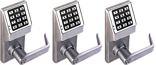 Alarm Lock Trilogy T2 100-User Standalone Electronic Digital Keypad Cylindrical Lock Leverset, Satin Chrome Finish (3-(Pack)) by Alarm Lock