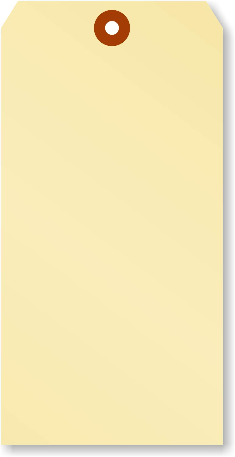 """Pack of 100 Extra Large Blank Shipping Tags   4"""" x 8"""" Manila Cardstock"""