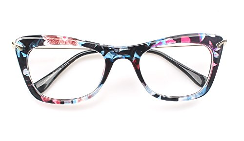 SOOLALA Womens Fashion Designer Cat Eye Eyeglasses Frames with Metal Arms BlueClearLens