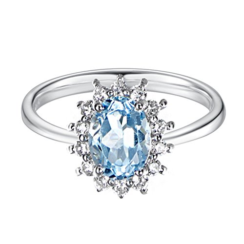 Carleen Sterling Silver 2.1 Carats Swiss Blue Topaz Ring Fashion Rings for Women, Size 7