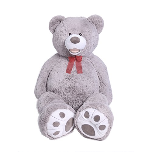 Teddy Bear Plush Giant Teddy Bears Stuffed Animals Teddy Bear Love Big Footprints 5 Feet Grey by HollyHOME