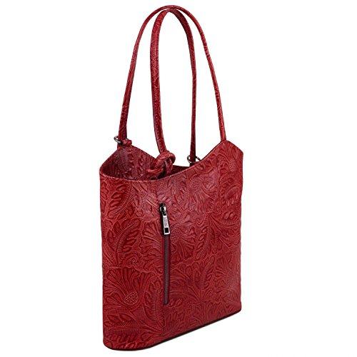floreale a in convertibile zaino Leather stampa Patty Rosso Borsa Rosso pelle donna Tuscany TL141676 FqSvT