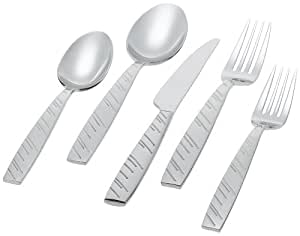 Ginkgo International Driven Rain 5-Piece Stainless Steel Flatware Place Setting, Service for 1
