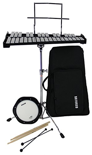 Gearlux 32-Note Glockenspiel Bell Kit with Adjustable Stand, Drum Practice Pad, Carrying Bag