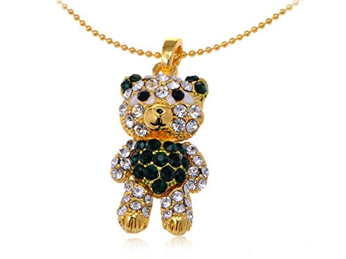 - Alilang Emerald Green & Clear Crystal Rhinestone Teddy Bear Fat Cute Pendant Necklace