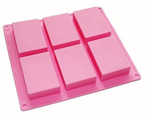 HOSL 6-cavity Plain Basic Rectangle Silicone Mould for Homemade Craft Soap Mold, cake mold, Ice cube tray