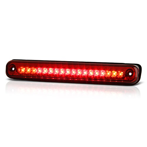 VIPMOTOZ Full LED Third Brake Cargo Light Assembly For 1988-1999 Chevy & GMC C/K 1500 2500 3500, Rosso Red Lens, Rear High Mount Stop Lamp ()