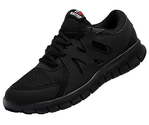 MAIITRIP Men's Running Shoes, Lightweight Non-Slip Gym Athletic Sneakers, Breathable Sport Causal Tennis Walking Shoes.All Black, Size 12