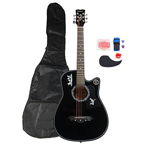 Basswood Cutaway Guitar Set With Bag +Straps+Picks+LCD Tuner+Pickguard+String (Black) by Lykos