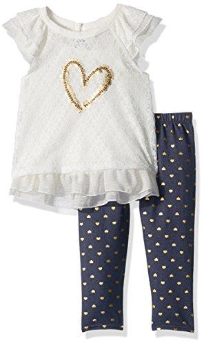Hearts Capri Pants (Little Lass Baby Girls' Toddler 3 Pc Lurex Heart Capri Set, Ivory/Gold, 2T)