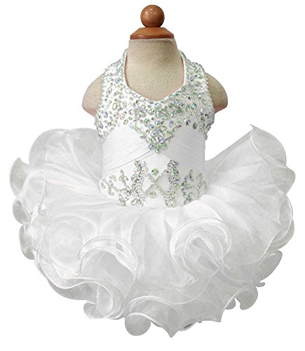 G.CHEN ChengCheng Baby Girls Halter Cupcake National Infant Pageant Dresses 1 US White ()