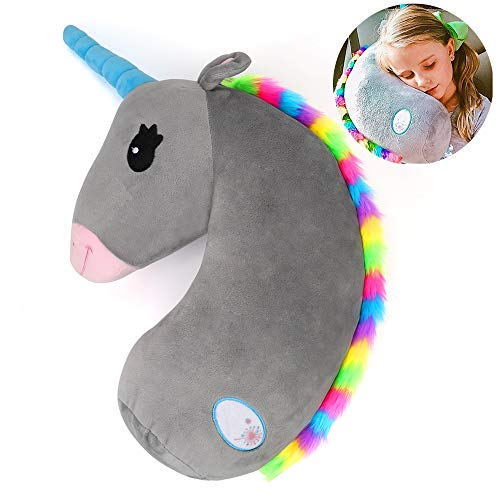 Seatbelt Pillow for Kids,Unicorn Seat Belt Cover,Seat Belt Cushion Pillow,Stuffed Plush Animal Travel Pillow,Kids Safety Belt Strap Cover Shoulder Pad,Children Adult Head Neck Rest (Unicorn)