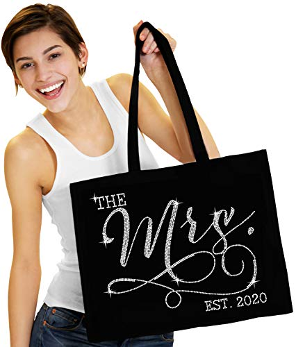 """Bride Tote Bag - Giant 18"""" x 14"""" Cotton Canvas Rhinestone Modern The Mrs. 2020 Tote Bag - Bridal Shower Gift - Black Tote(Mod2020 RS) Blk"""