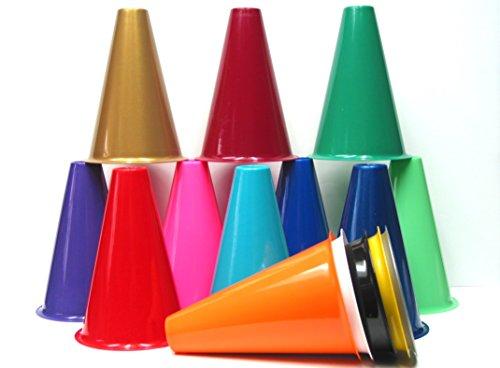 8 Inch Tall Plastic Megaphones, 16 Megaphones, Mix of Colors -