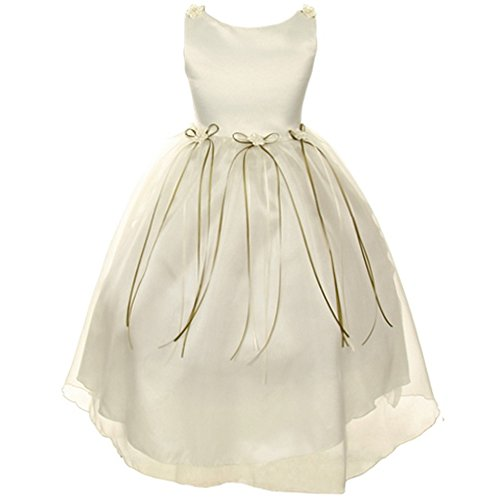 CrunchyCucumber Big Girls Satin Organza Dress with Simulated Pearls Accent Flower Brooch Flower Girl Dress Ivory - Size 14 ()