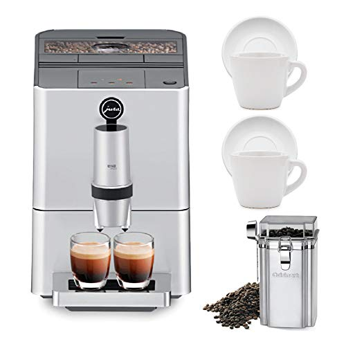 Jura 15106 ENA Micro 5 Automatic Coffee Machine, Silver Includes Coffee Canister and Set of Two Espresso Cups and Saucers Bundle (Renewed) (4 Items)