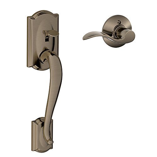 (Schlage FE285 CAM 620 Acc RH Camelot Trim Lower Half Front Entry Handleset with Accent Right Hand Lever, Antique Pewter)
