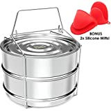 Simpli Instant Stackable Steamer Insert Pans for Instant Pot | 6/8 qt - Perfect Pot in Pot cooking for Pressure Cooker and Instant Pot - Comes With Lid, Sling & BONUS Pair of Silicone Mitts