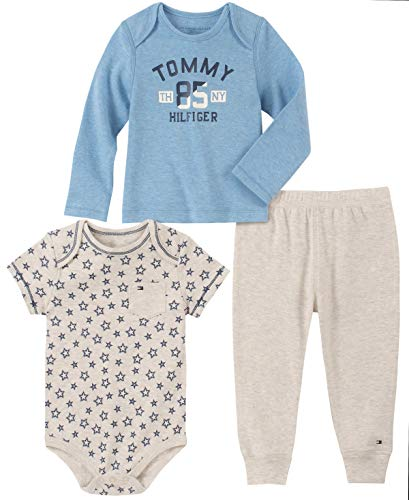 Tommy Hilfiger Baby Boys 3 Pieces Pants Set, Blue/Oatmeal, 0-3 Months