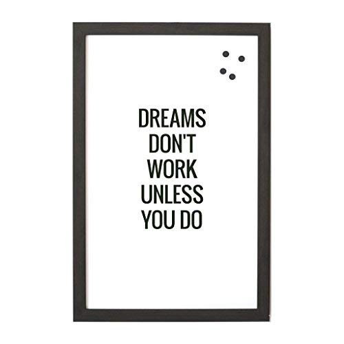 Petal Lane Framed Magnetic Canvas Wall Art - Ebony Frame ''Dreams Don't Work'' Home Decor, 4 Magnets Included, 16''x24''