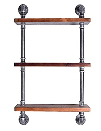 Diwhy Industrial Pipe Shelving Bookshelf Rustic Modern Wood Ladder Storage Shelf 3 Tiers Retro Wall Mount Pipe Dia 32mm Design DIY Shelving Silver, L 24