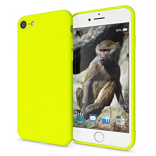 NALIA Case Compatible with iPhone 8/7, Phone Cover Ultra-Thin TPU Neon Silicone Back Protector Rubber Soft Skin Bright Protective Shockproof Slim Bumper Smartphone Back-Case, Color:Yellow
