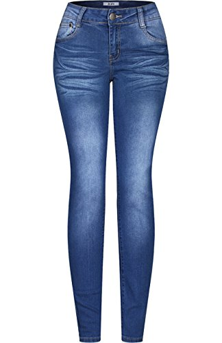 2LUV Women's Stretchy 5 Pocket Solid Skinny Jeans Medium Blue Wash 17 (Outfits For Tweens)