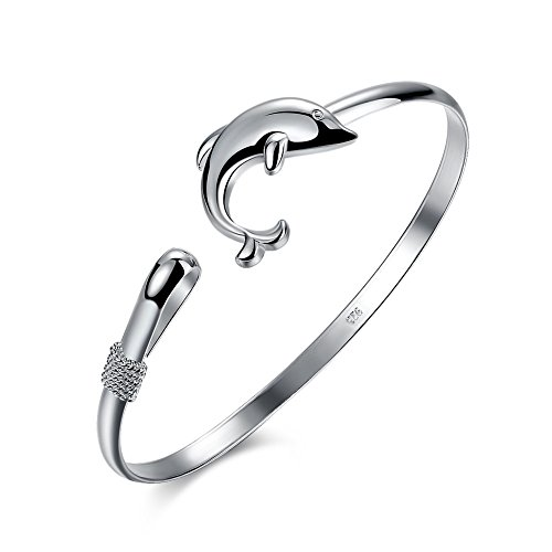 CHICY Women Jewelry Silver Plated Stack Bangle Cuff Dolphin Charm Bracelet High Polished Adjustable Bracelet
