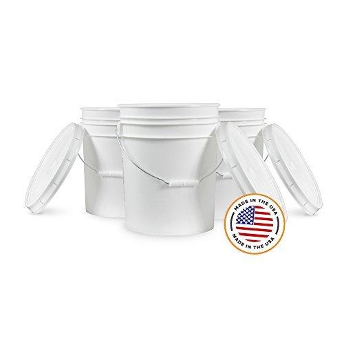 3.5 Gallon White Bucket & Lid - Set of 5 - Durable 90 Mil All Purpose Pail - Food Grade - Contains No BPA Plastic (3.5 Gal. w/Lids - 5pk) ()