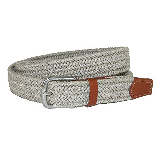 CrookhornDavis Men's Boca Braided Waxed Cotton Stretch Belt, 36, Khaki ()