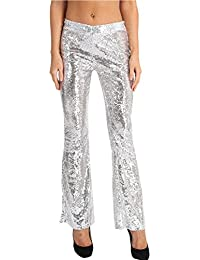 Women's Chic Sequins Wide Legs Palazzo Pants Casual Leggings