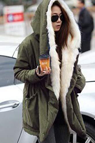Lana Con Green Zip Tasca Outwear Spessa Piena Donne Incappucciato Giacca Le Yulinge U4Ft11