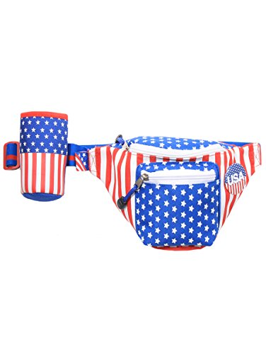 Tipsy Elves American Flag USA Fanny Pack with Drink ()