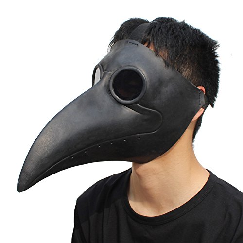 PartyCostume Plague Doctor Bird Mask Long Nose Beak Cosplay Steampunk Halloween Costume Props (Scary Rubber Masks)