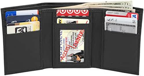 Access Denied Mens Leather RFID Blocking Wallet Trifold with ID Window
