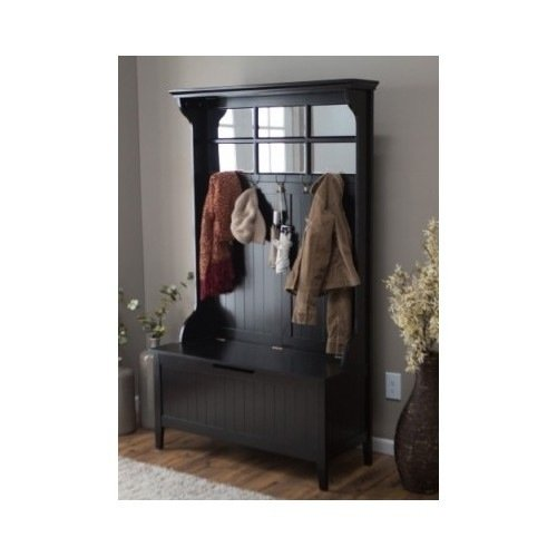 Black Entryway Hall Tree with Mirror Coat Hooks and Storage Bench by Belham Living by Belham Living