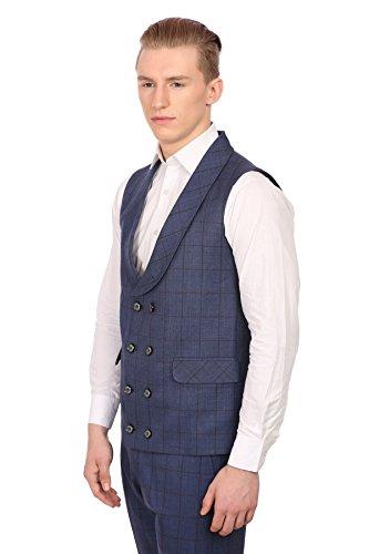 Wintage Hommes PV Merino Laine mélangée châle Lapel Double Breasted Blue Vest