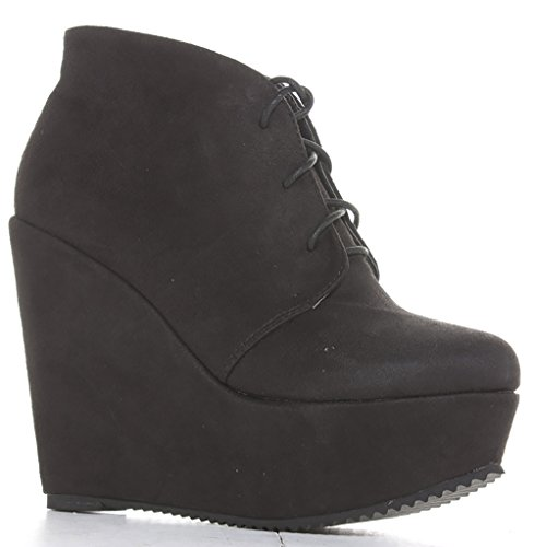 Shoes 14 Wedges Ankle Women High Black Style Platform Black Wedge Boots Ladies Suede a5PwAOwq