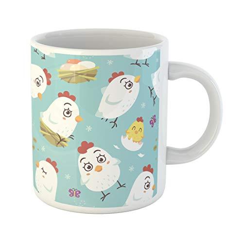 Semtomn Funny Coffee Mug Easter Cartoon Hen Chicken Kawaii Pattern Cute Animal Baby 11 Oz Ceramic Coffee Mugs Tea Cup Best Gift Or Souvenir